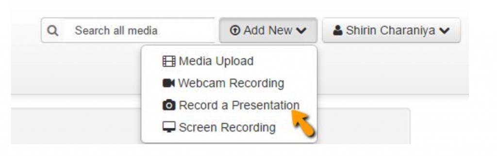 Click add new: record a presentation