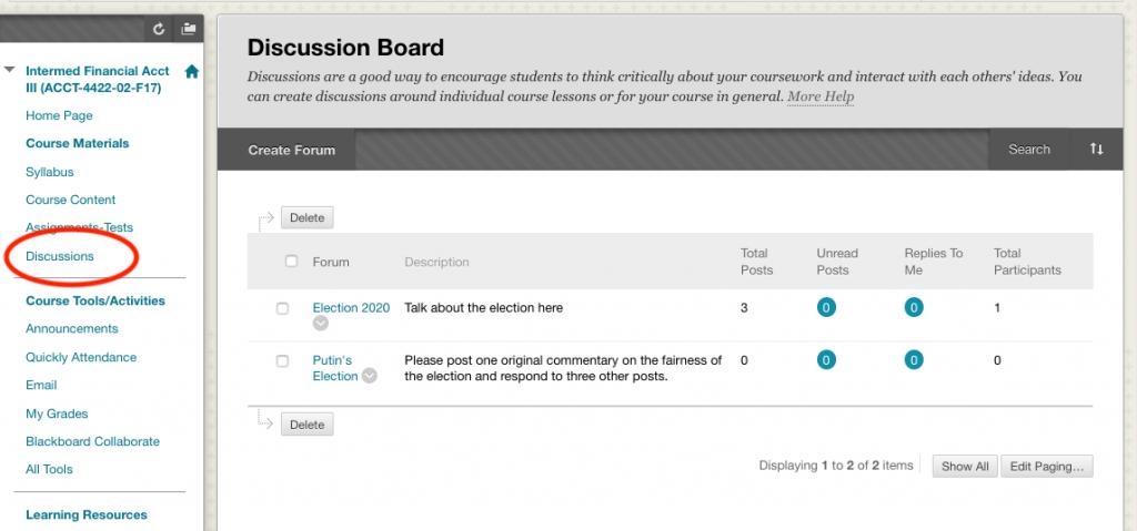 Screen shot of discussion thread on blackboard