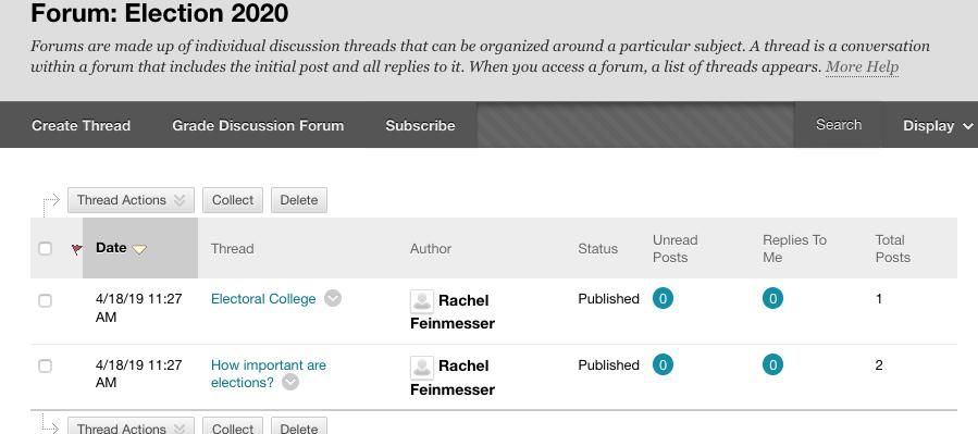 Screen-shot of threads in a blackboard forum
