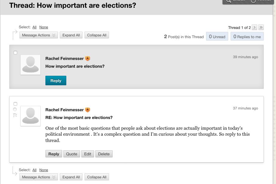 Thread detail on forums on blackboard