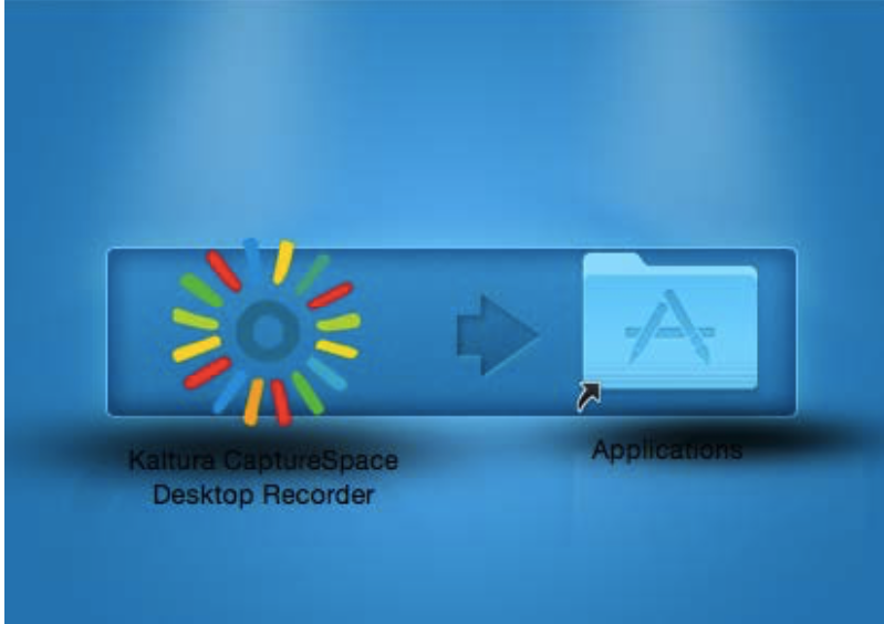 If using a Mac, drag the Kaltura CaptureSpace Desktop Recorder application to the applications folder.